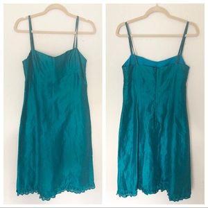 Size 10 Nanette Lepore Turquoise Linen Slip Dress